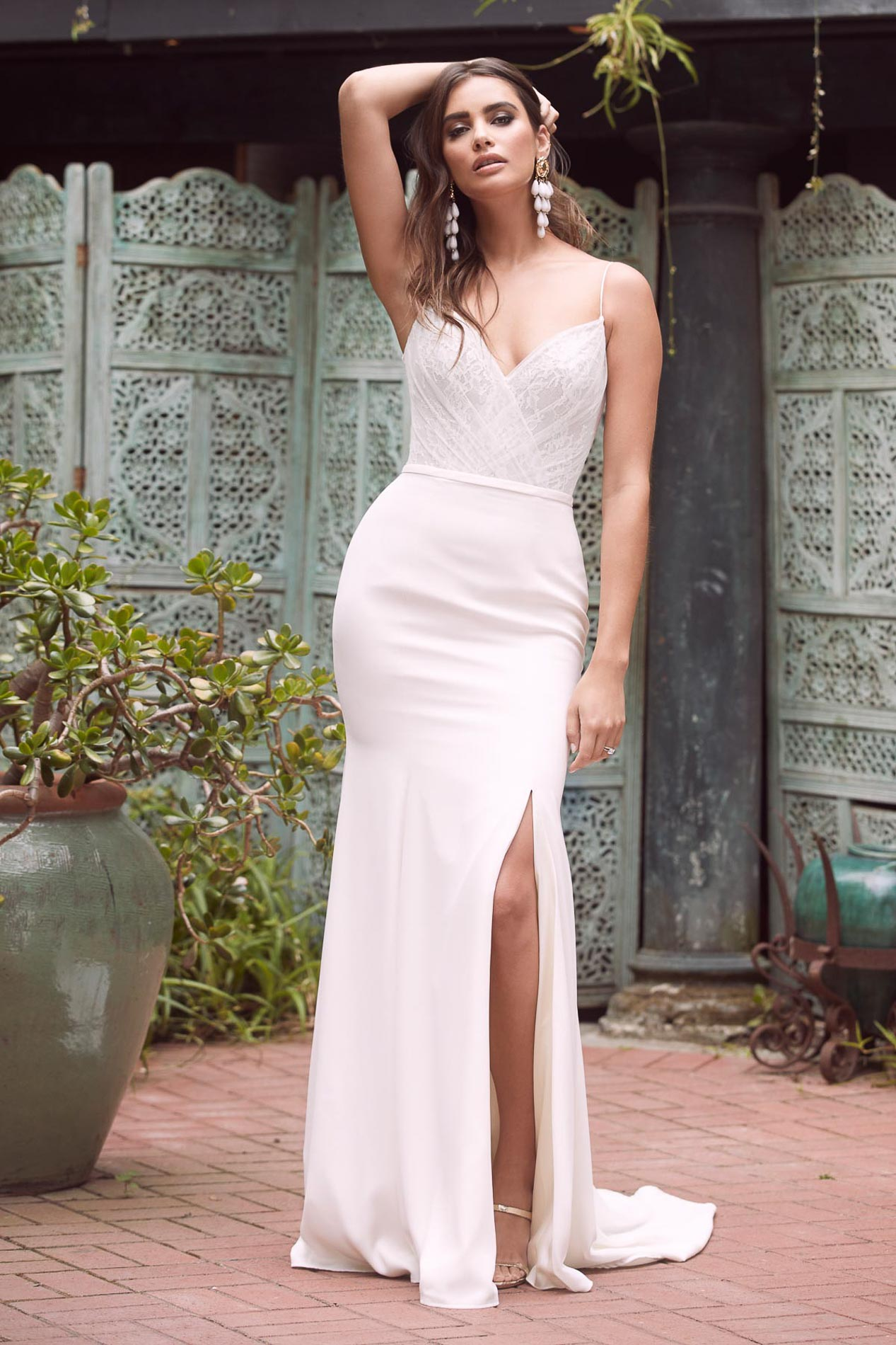 High leg split wedding gown, Cabinet of Wonders, an exclusive Watters WTOO event
