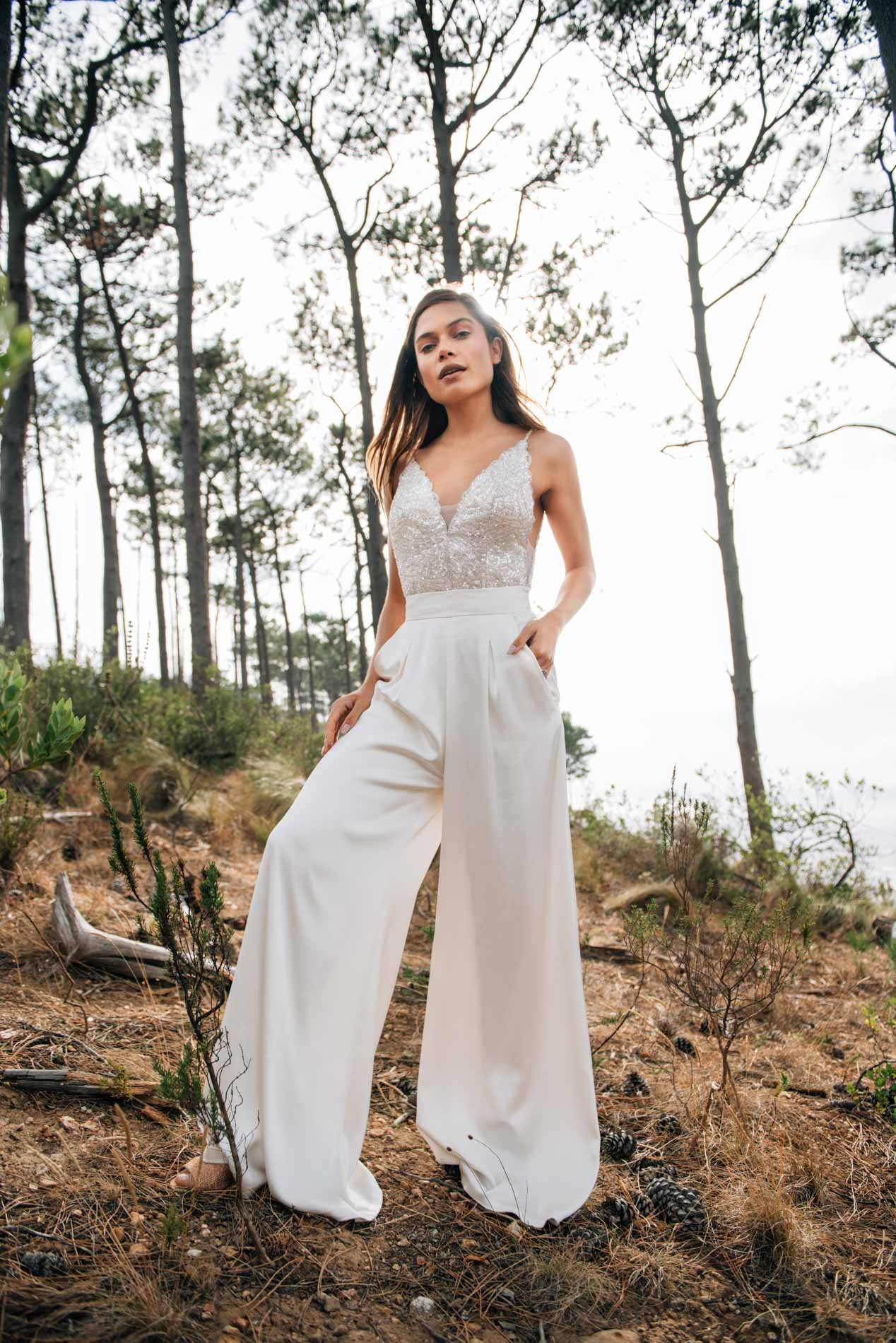 Rumi body and Aurelia Trousers by Catherine Deane at Hannah Elizabeth Bridal, bridal trousers