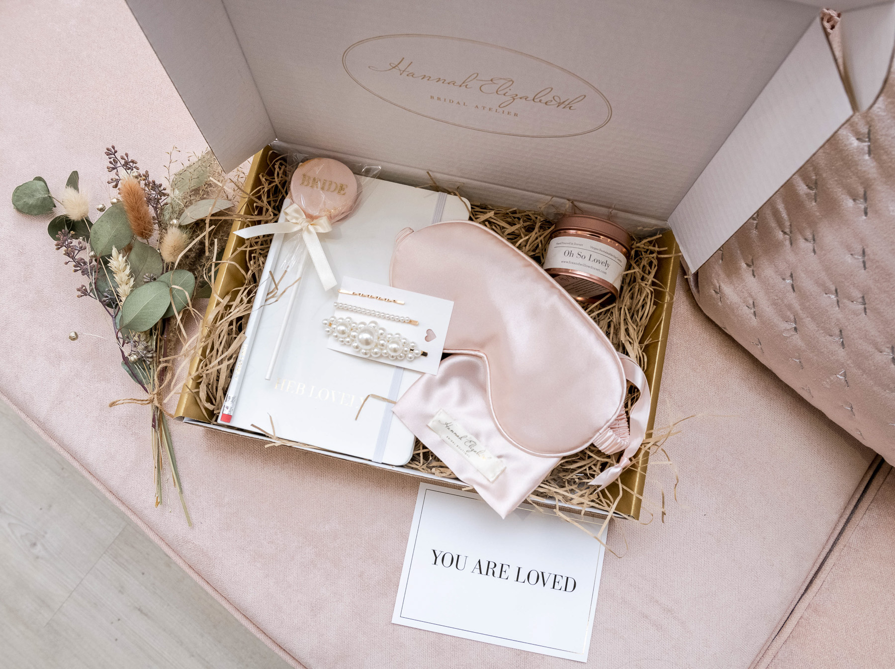 luxury bridal gifts from Hannah Elizabeth Bridal, Avec Amour, bridal gifts in gold box