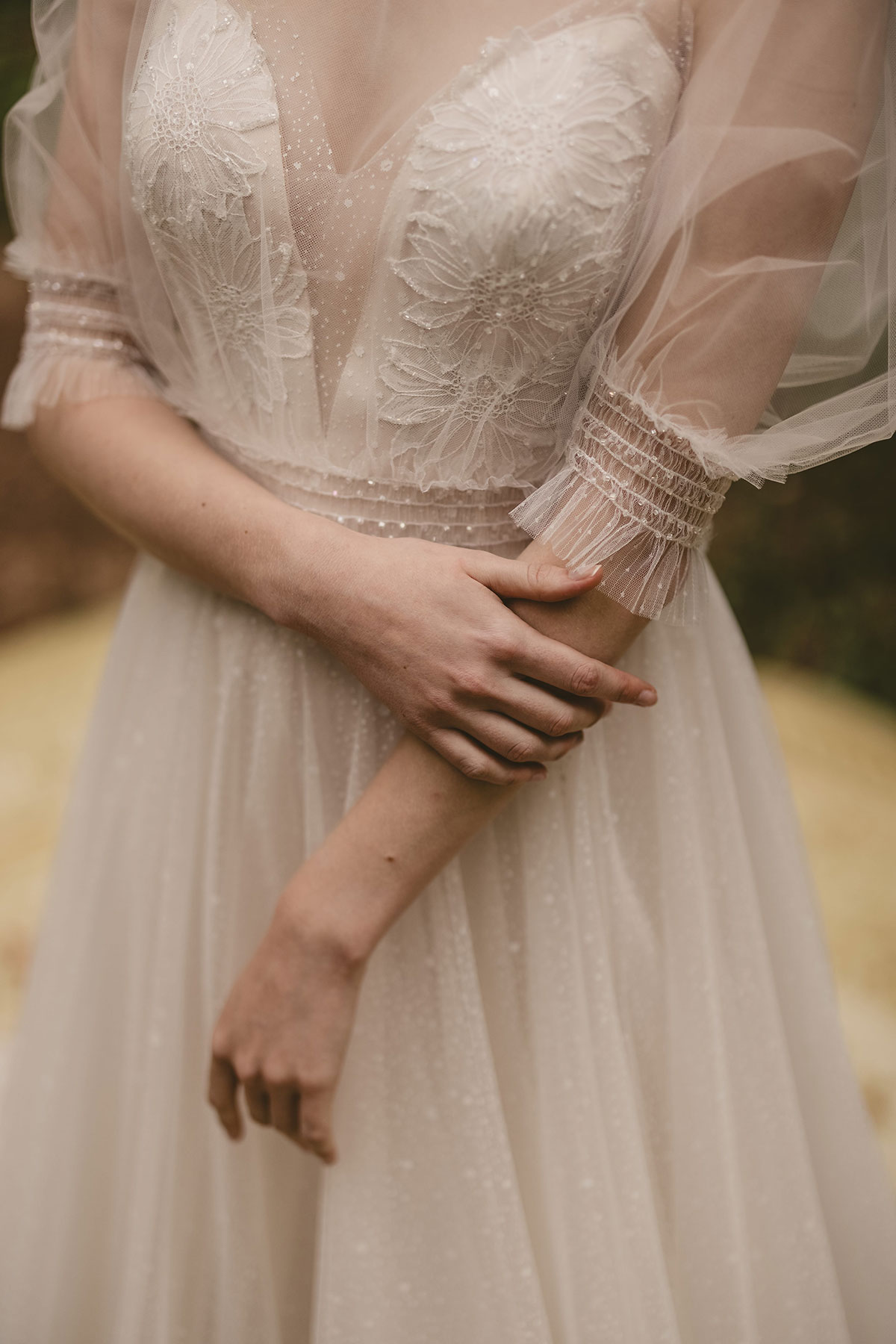 Styled shoot gorgeousness! Claire by Chic Nostalgia, a daily reminder for you by on trend with a V neck bridal gown