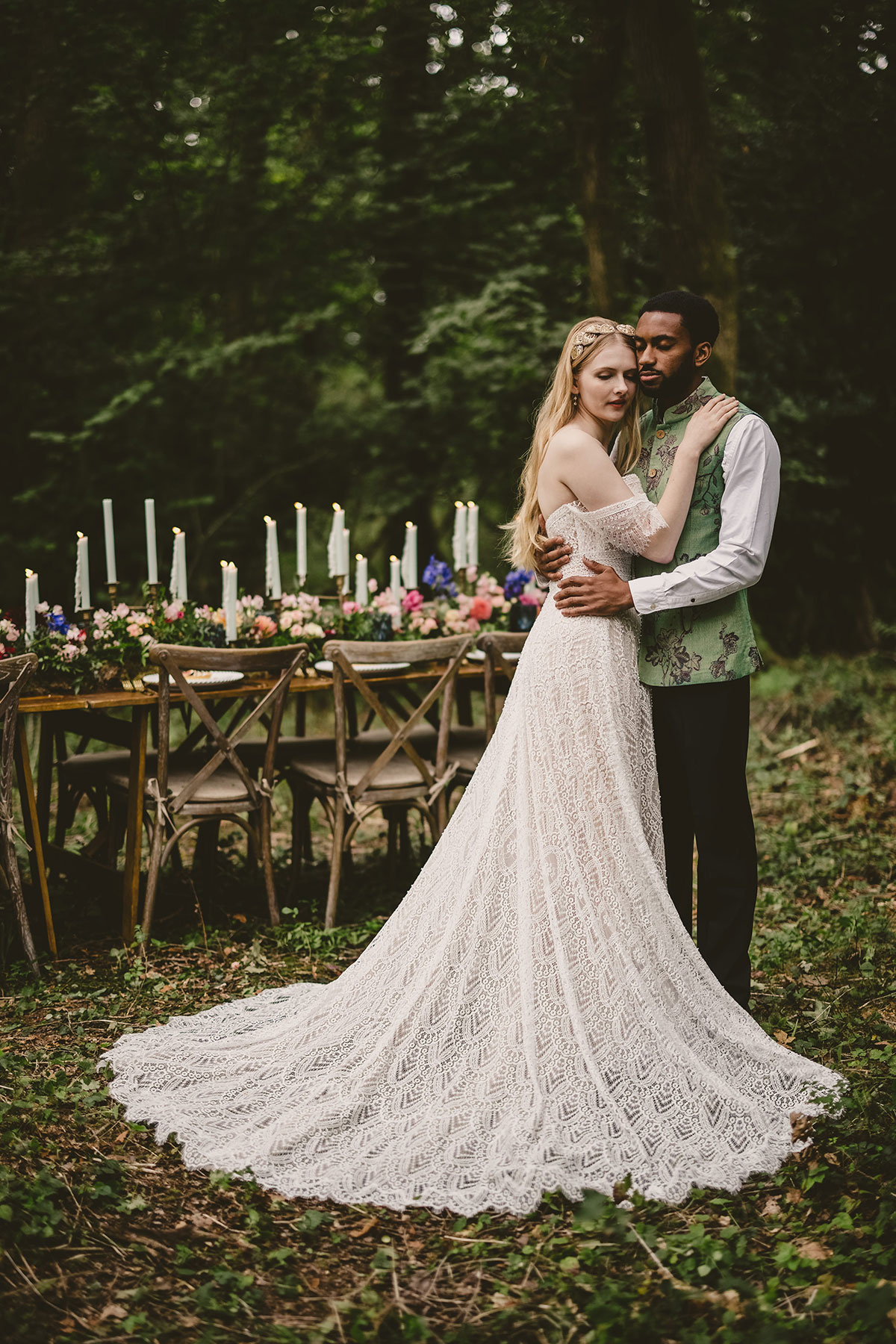 Wedding dress details - Lace gown by Chic Nostalgia called Scarlett